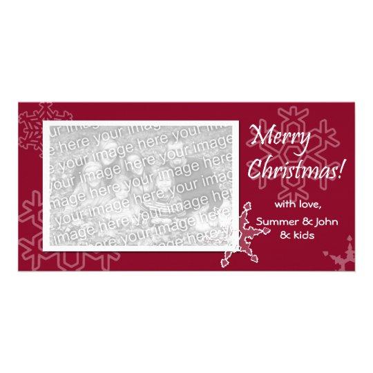 Frohe Weihnachten! Rote Schneeflocke-Foto-Karte Fotogrußkarten