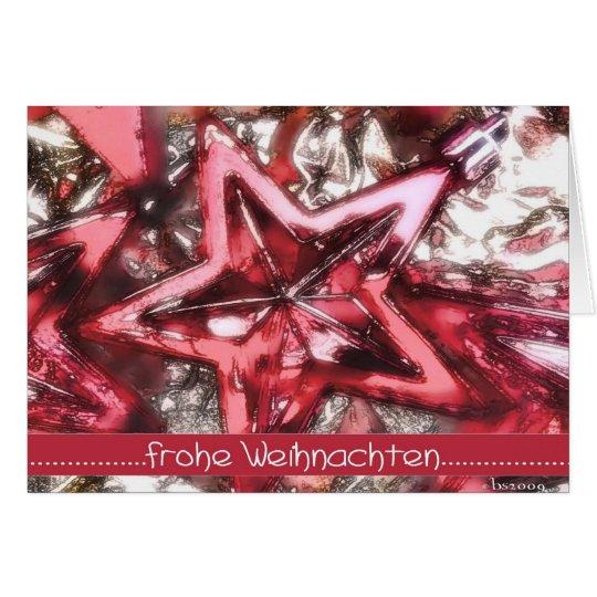 Frohe Weihnachten, roter glänzender Stern Karte
