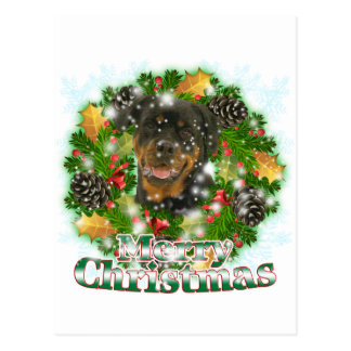 Frohe Weihnachten Rottweiler Postkarte