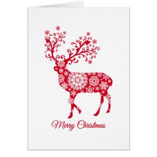 Frohe Weihnachten, Rotwild mit Schneeflocken Karte