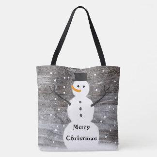 Frohe Weihnachten rustikale niedliche Tasche