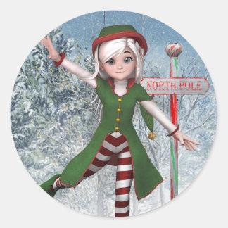 Frohe Weihnachten Sadie Elf-Aufkleber