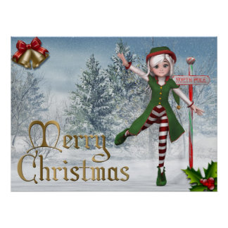 Frohe Weihnachten Sadie Elf-Druck Plakatdruck