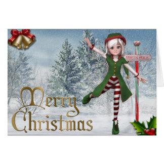 Frohe Weihnachten Sadie Elf-Karte Karte