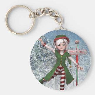 Frohe Weihnachten Sadie Elf Keychain Standard Runder Schlüsselanhänger
