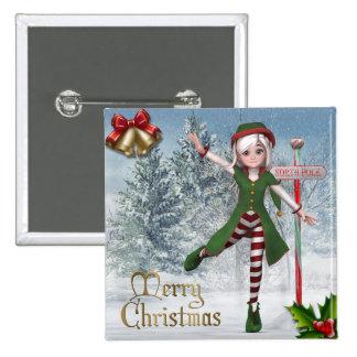Frohe Weihnachten Sadie Elf-Knopf Quadratischer Button 5,1 Cm