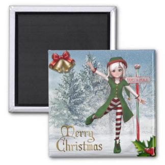 Frohe Weihnachten Sadie Elf-Magnet Kühlschrankmagnete