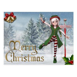 Frohe Weihnachten Sadie Elf-Postkarte Postkarte