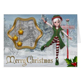 Frohe Weihnachten Sadie Elf-Schablonen-Karte Grußkarte
