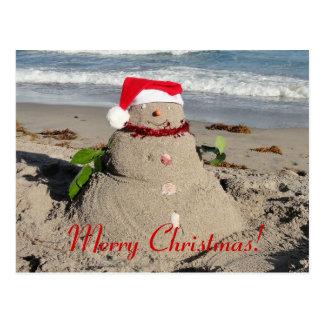Frohe Weihnachten! Sandman-Schneemann Postkarte