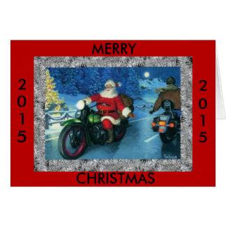 Frohe Weihnachten Sankt 2015 auf einem Motorrad Grußkarte
