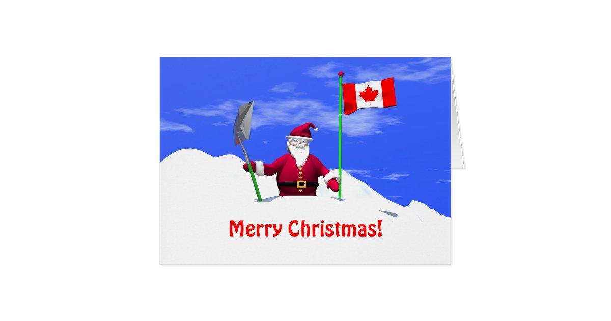 frohe weihnachten sankt in kanada karte zazzle. Black Bedroom Furniture Sets. Home Design Ideas