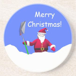 Frohe Weihnachten Sankt mit Schaufel Bierdeckel