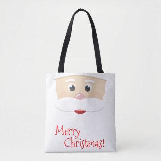 Frohe Weihnachten Sankt mit Schneeflocken Tasche