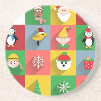 Frohe Weihnachten, Sankt und Helfer Sandstein Untersetzer