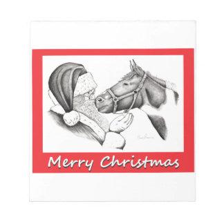 Frohe Weihnachten Sankt und Pferd Notizblock