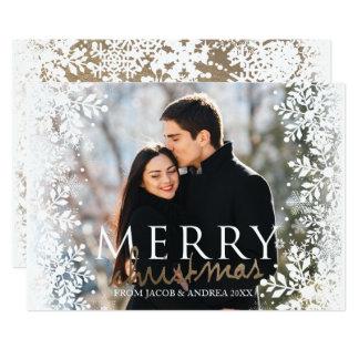 Frohe Weihnachten, Schnee und Gold Karte