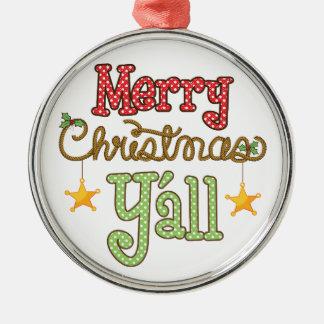 Frohe Weihnachten Sie Rundes Silberfarbenes Ornament