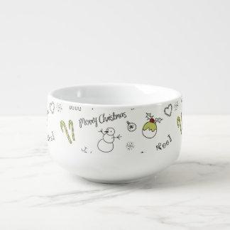 Frohe Weihnachten skizzieren Muster Große Suppentasse