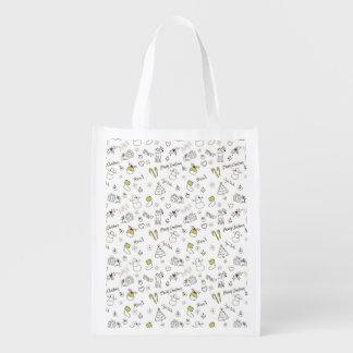 Frohe Weihnachten skizzieren Muster Wiederverwendbare Einkaufstasche