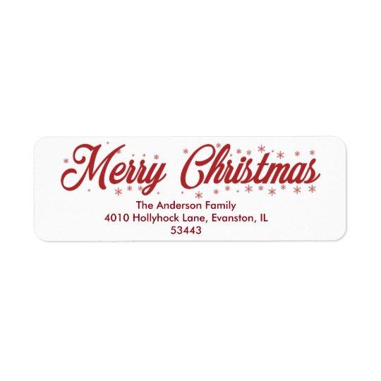 Frohe Weihnachten - Skript-Aufkleber Rücksende Aufkleber