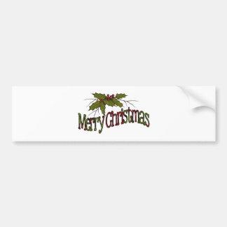 Frohe Weihnachten, Stechpalme, Beeren, Zweige: Autoaufkleber