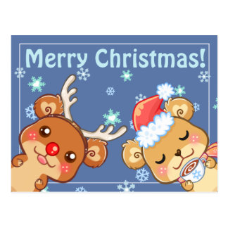 Frohe Weihnachten tragen Postkarte