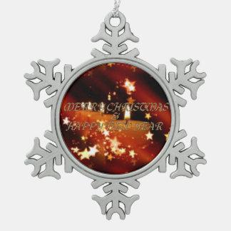 Frohe Weihnachten und ein guten Rutsch ins Neue Schneeflocken Zinn-Ornament