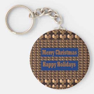Frohe Weihnachten und frohe Feiertage SCHABLONE Standard Runder Schlüsselanhänger