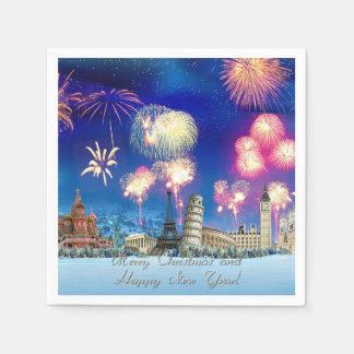 frohe Weihnachten und guten Rutsch ins Neue Jahr Serviette