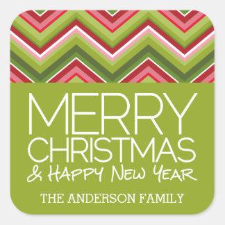 Frohe Weihnachten und HNY - kundenspezifische Quadratischer Aufkleber