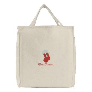 Frohe Weihnachten und Strumpf gestickte Taschentas Bestickte Einkaufstasche