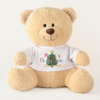 Frohe Weihnachten verzierten Baum-Teddybären Teddy