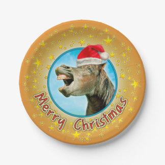 Frohe Weihnachten vom lachenden Pferd Pappteller