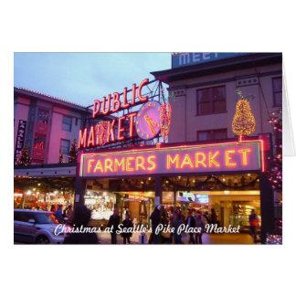 Frohe Weihnachten vom Platz-Markt Seattles Pike Karte