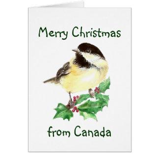 Frohe Weihnachten von Kanada, Chickadee-Vogel Karte