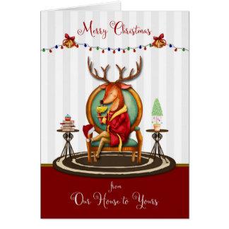 Frohe Weihnachten von unserem Haus zu Ihrem Ren Karte