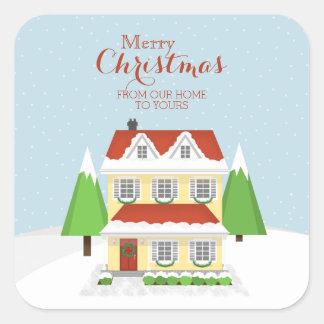 Frohe Weihnachten von unserem Zuhause zu Ihrem Quadratischer Aufkleber