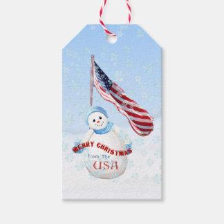 Frohe Weihnachten von USA-Schneemann Geschenkanhänger
