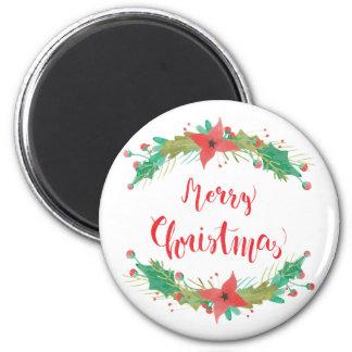 """Frohe Weihnachten"" Watercolor-Vintager Runder Magnet 5,1 Cm"