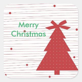 Frohe Weihnachten, Weihnachtsbaum-Aufkleber Quadratischer Aufkleber