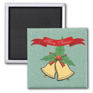 Frohe Weihnachten - Weihnachtsbell-Magnet Quadratischer Magnet