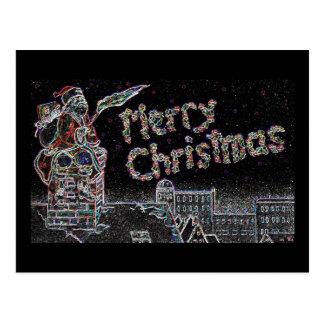 Frohe Weihnachten Weihnachtsmann mit Fackel Postkarte