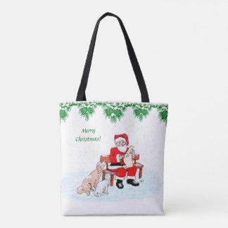Frohe Weihnachten - Weihnachtsmann mit Katze und Tasche