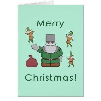 Frohe Weihnachten Weihnachtsmann und Elfe Karte