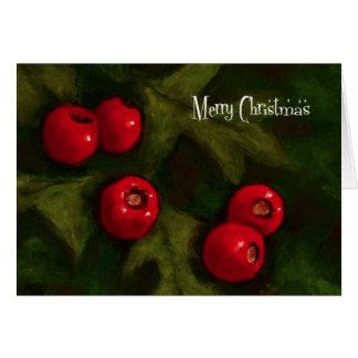 Frohe Weihnachten: Weißdorn-Beeren: Malen Karte