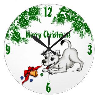 Frohe Weihnachten! Welpe mit Bell und Ball Große Wanduhr