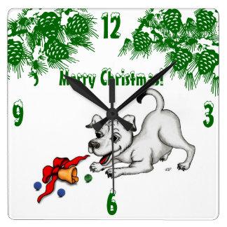 Frohe Weihnachten! Welpe mit Bell und Ball Quadratische Wanduhr