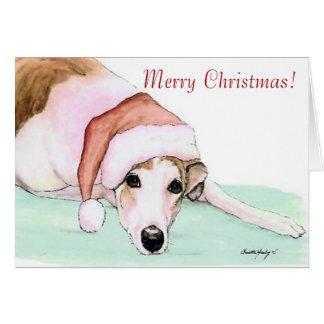 Frohe Weihnachten! Windhund-Kunst-Weihnachtskarte Grußkarte