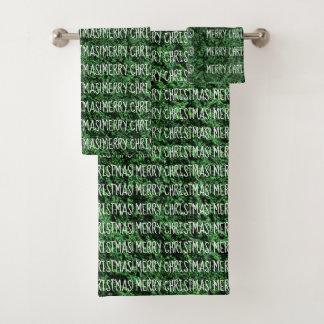 FROHE WEIHNACHTEN Wort-Muster-Spaß Forest Green Badhandtuch Set